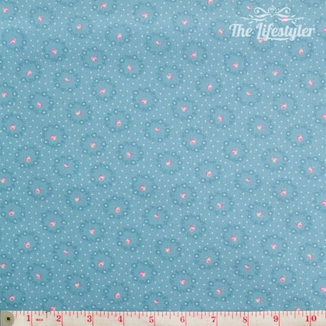 Westfalenstoffe - Princess rose wreaths on light blue