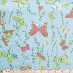Westfalenstoffe - Wales butterflies on light blue