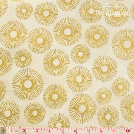 Robert Kaufman - Sparkle, golden circles on beige