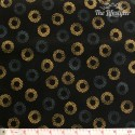 Robert Kaufman - Sparkle, golden dotty circles on black