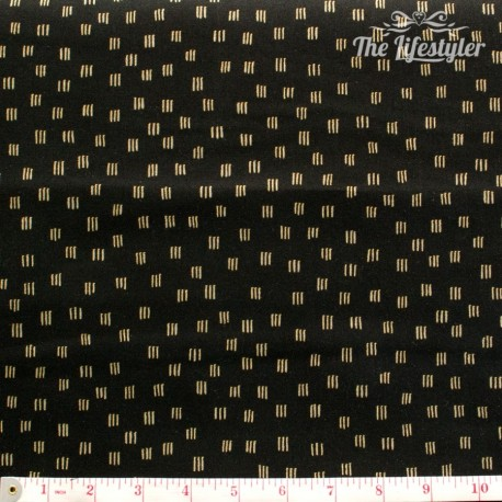 Robert Kaufman - Beau Monde, golden short triple stripes on black