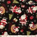 Wilmington Prints - Jolly Christmas, tossed Santas on black