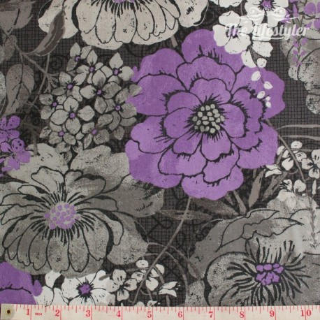 Wilmington Prints - Purple Haze, grey and purple flowers on charcoal