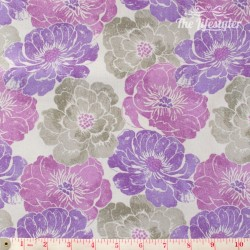 Wilmington Prints - Purple Haze, grey and purple flowers on light grey