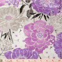 Wilmington Prints - Purple Haze, big grey and purple flowers on white