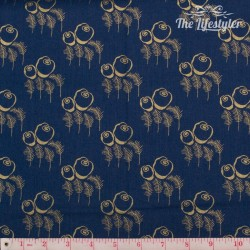 Timeless Treasures - Revive, gold flowers on navy