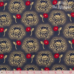 Timeless Treasures - Revive, golden and red flowers on navy