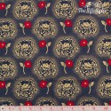 Timeless Treasures - Revive, Hollywood - golden and red flowers on navy